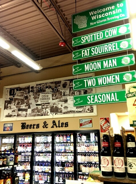 Buy local in a Main Street town: part of the Wisconsin beer selection at Mars Cheese Castle Kenosha WI (photo by Sheila Scarborough)