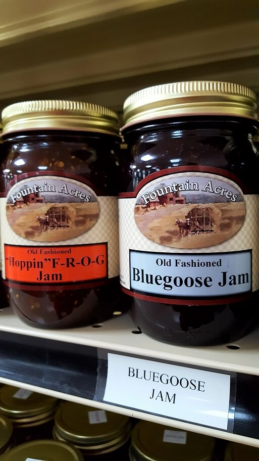 Part of the jam selection at Fountain Acres Foods Amish store Fountain City Indiana (photo by Sheila Scarborough)