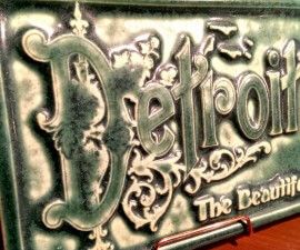 Pewabic tile made for Detroit Mercantile shop near the Eastern Market in Detroit, Michigan (photo by Sheila Scarborough)