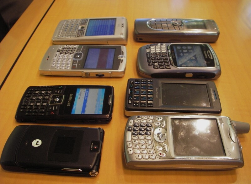 Smartphones change how we travel just a few years after this phone collection from 2006 (courtesy Steve Jurvetson on Flickr CC)