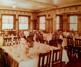 Photo of the original dining room layout at Brownwood Harvey House TX from Chamber info brochure