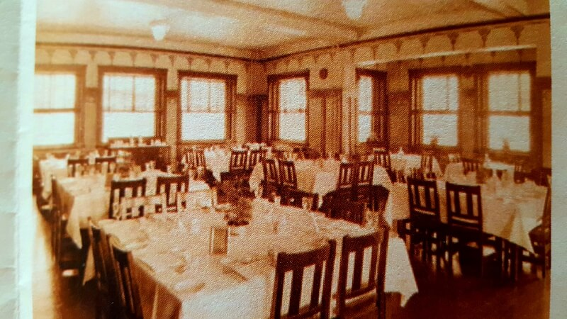 Photo of the original dining room layout at Brownwood TX Harvey House from Chamber info brochure
