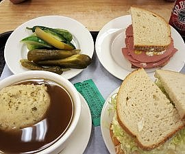 Pickles liverwurst and egg salad sandwiches matzo ball soup at the ultimate New York deli Katz's (photo by Sheila Scarborough)