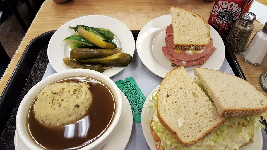 Pickles liverwurst and egg salad sandwiches matzo ball soup Katz's Delicatessen Lower East Side New York City (photo by Sheila Scarborough)