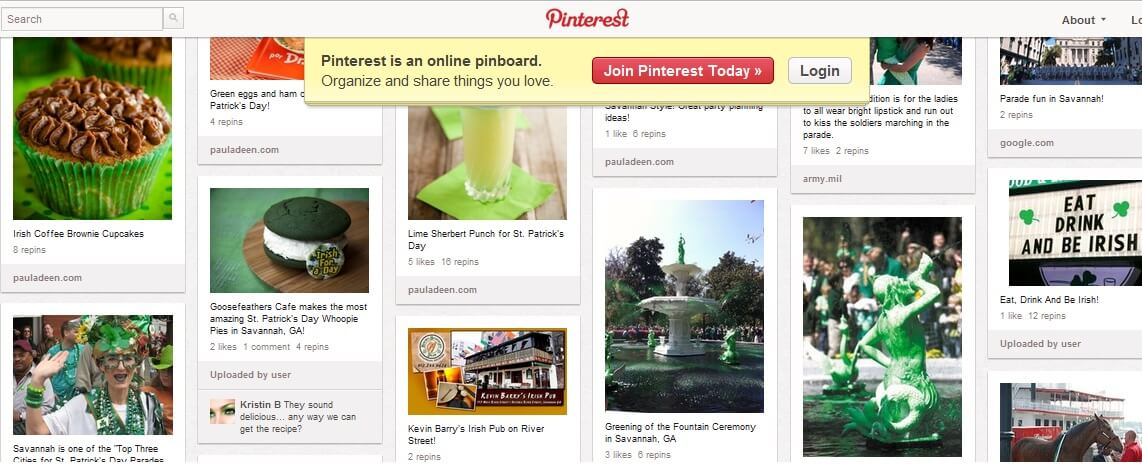 Pinterest Board for St Patrick's Day in Savannah GA
