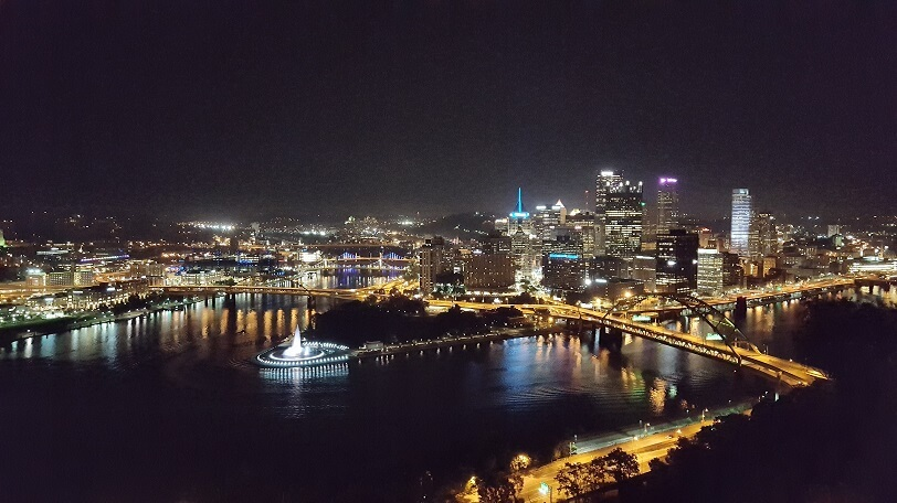 Pittsburgh at night from atop the Duquesne Incline (photo by Sheila Scarborough)