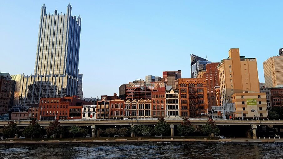 Firstside Historic District on the waterfront in downtown Pittsburgh as seen from the water Gateway cruise (photo by Sheila Scarborough)