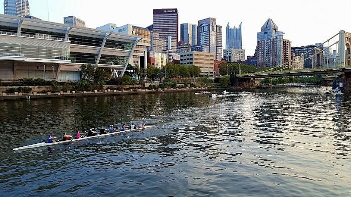 Pittsburgh from the water rowing Gateway cruise (photo by Sheila Scarborough)