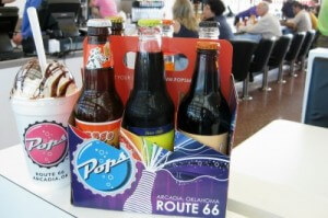 POPS Arcadia six-pack soda sampler and yummy shake (photo by Sheila Scarborough)