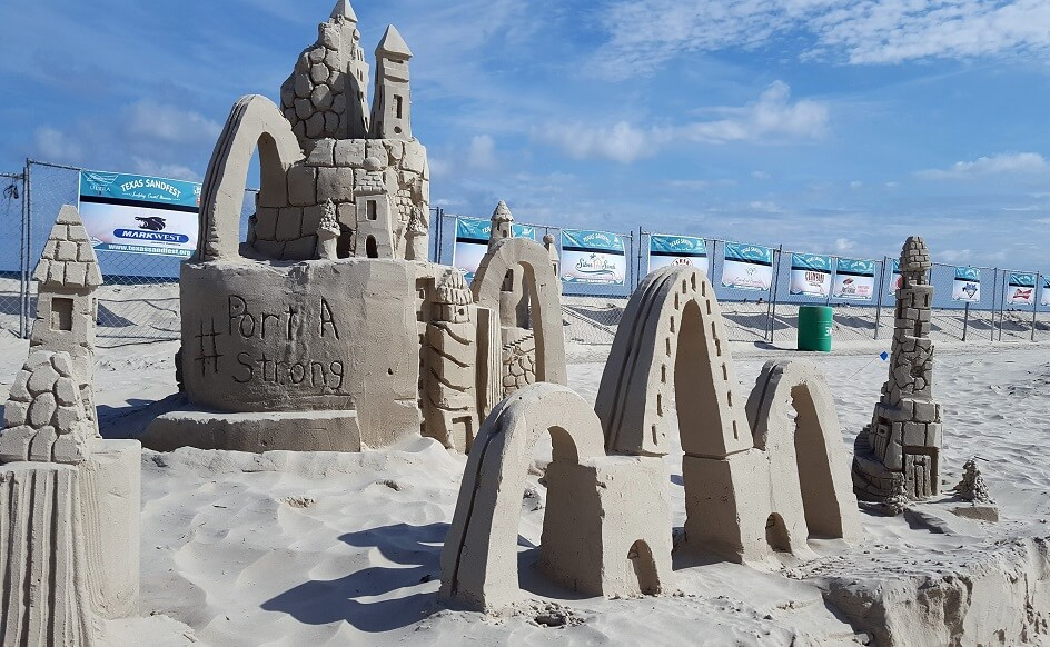 Port A Strong on sand castle at Port Aransas Sandfest late April 2018 (photo by Sheila Scarborough)