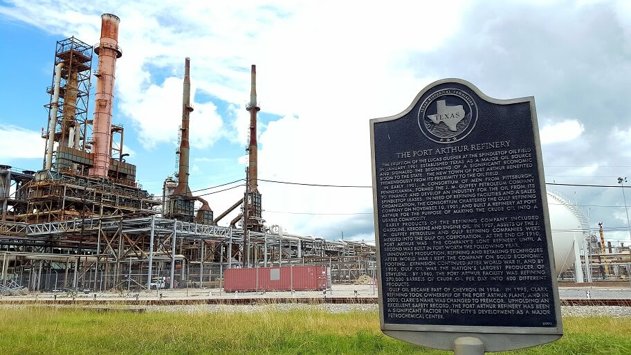 Port Arthur Refinery historical marker (photo by Sheila Scarborough)