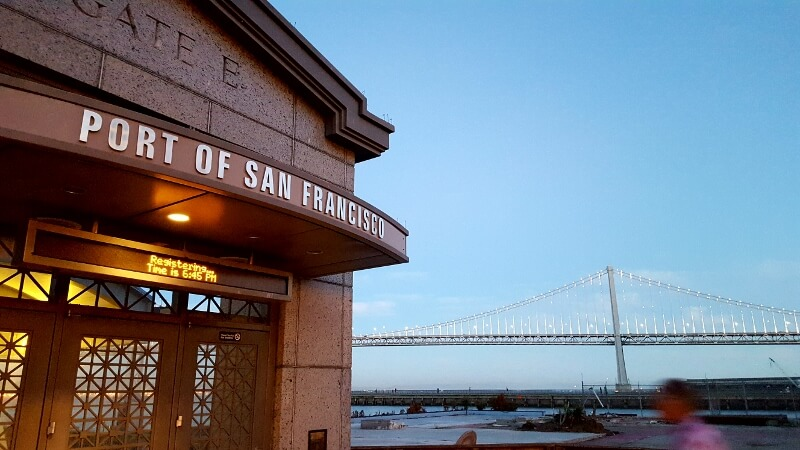 Port of San Francisco gate to East Bay ferry at dusk (photo by Sheila Scarborough)