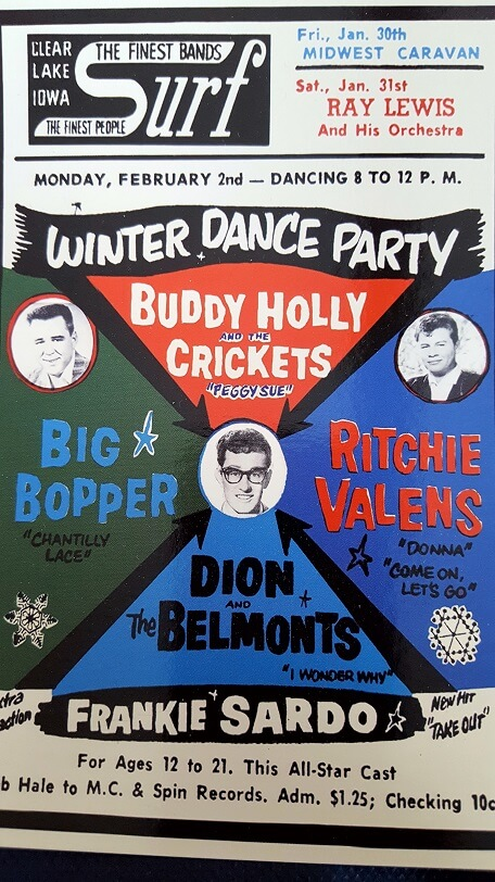 Postcard of Winter Dance Party graphic Surf Ballroom Clear Lake Iowa