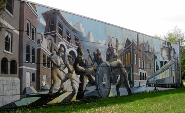 Pullman Historic District mural in Chicago's Southland area (photo by Sheila Scarborough)
