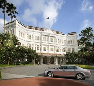 Raffles Hotel Facade with Bentley