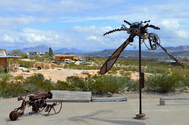 Recycled materials sculptures in Terlingua TX (photo by Diann Bayes)