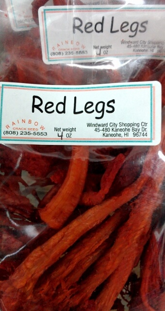 Red legs snack at a crack seed store in Hawaii (photo by Sheila Scarborough)