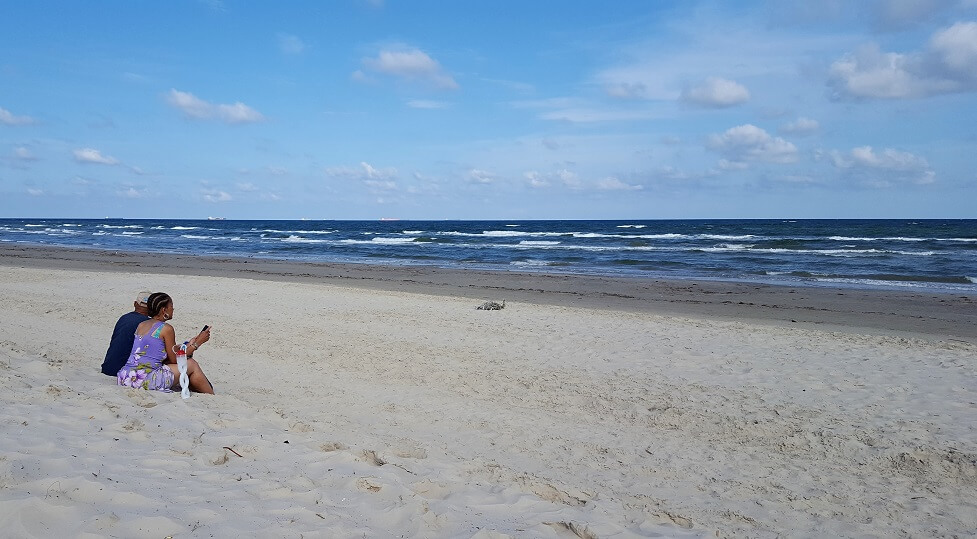 Relaxing on the beach in Port Aransas Texas in late April 2018 (photo by Sheila Scarborough)