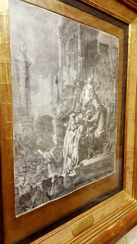 Rembrandt etching at First State Bank in Uvalde TX (photo by Sheila Scarborough)
