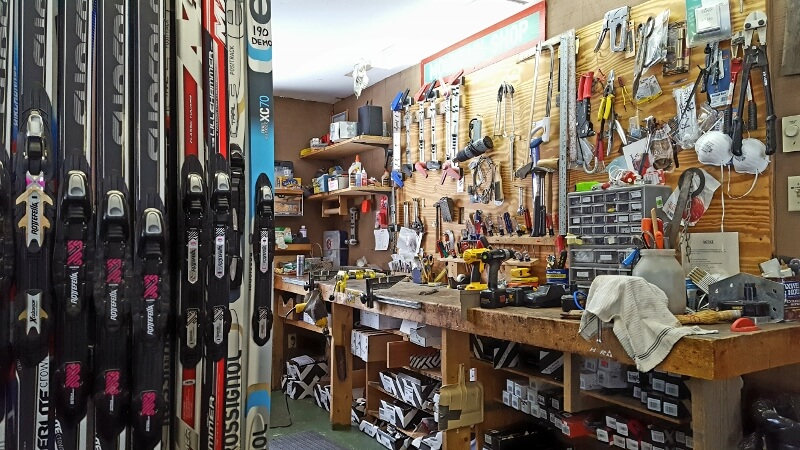 Repair and maintenance bench at Cascade XC Ski Center in Lake Placid NY (photo by Sheila Scarborough)