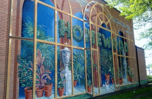 Another view of the Richard Haas mural for Homewood Florist (photo by Sheila Scarborough)