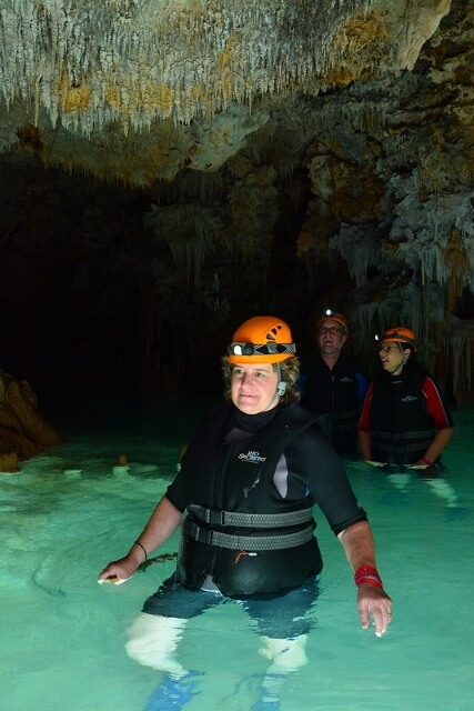 Exploring an underground river system and cenote in Mexico (photo courtesy Río Secreto)