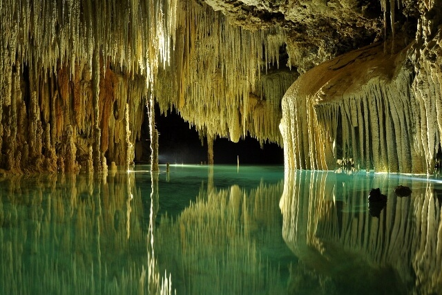 Gorgeous underground scenery in the Río Secreto nature preserve of underground rivers (photo courtesy Río Secreto, Playa del Carmen)
