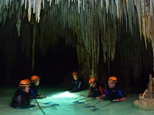 Río Secreto Mexico cave cenote right before they turned out lights (photo courtesy Río Secreto, Playa del Carmen)