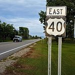 Road signs for US Route 40 and the US Historic National Road (photo by Sheila Scarborough)