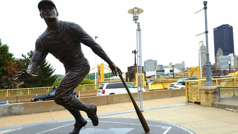 Walk around downtown Pittsburgh Roberto Clemente statue on the waterfront next to stadium (photo by Sheila Scarborough)