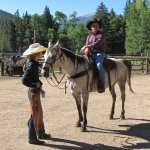 A lesson before horse-riding at Tumbling River Ranch in Colorado