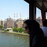 Looking out the aerial tram window at Roosevelt Island in New York City (photo by Sheila Scarborough)