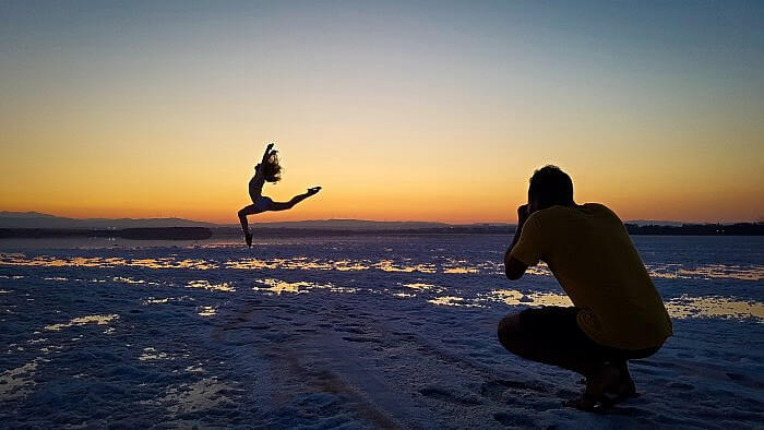 Sarah Funk at the Salt Flats in Lanarca, Cyprus