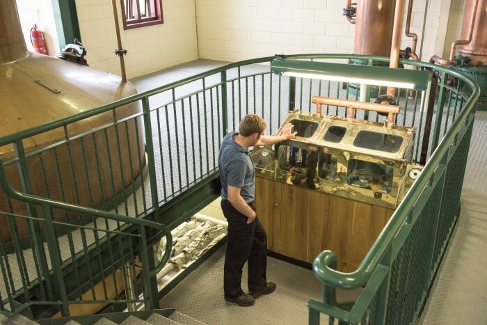 Traditional Scottish spirits safe in the Scapa whisky distillery on Orkney in Scotland