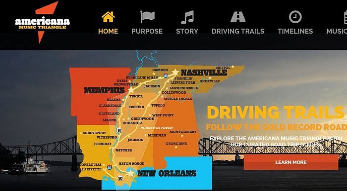 Screenshot of Americana Music Triangle map and driving tours