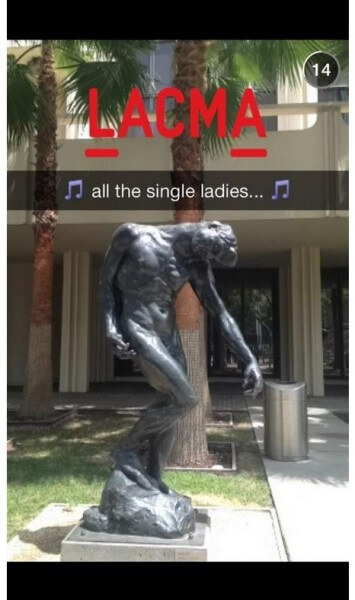 Screenshot from LACMA's Tumblr of one of their funny Snapchat posts