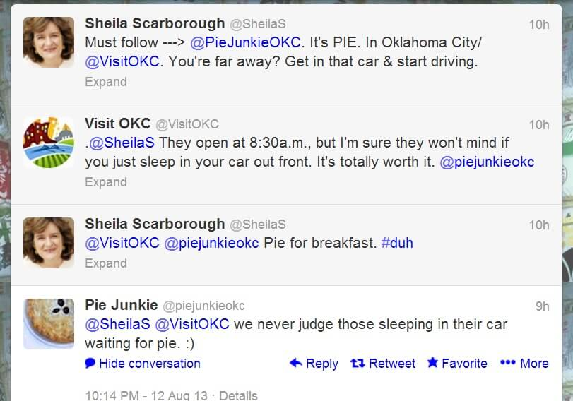 Screenshot of good example of OKC CVB partner and follower interaction on Twitter with Pie Junkie