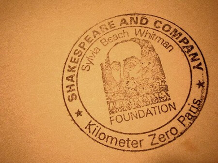 Shakespeare and Company Kilometer Zero Paris stamp (courtesy Nicholas Laughlin at Flickr CC)