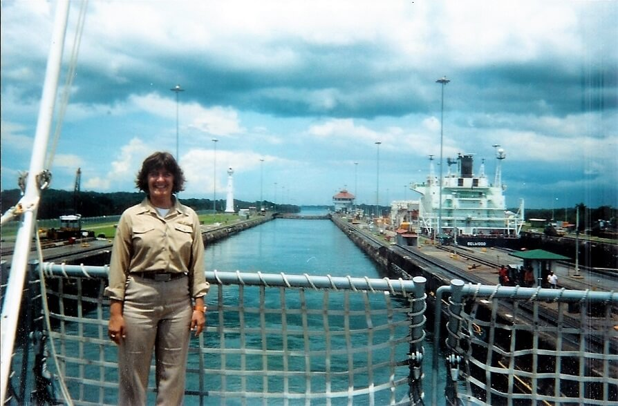 Sheila Scarborough USS Merrimack at Panama Canal