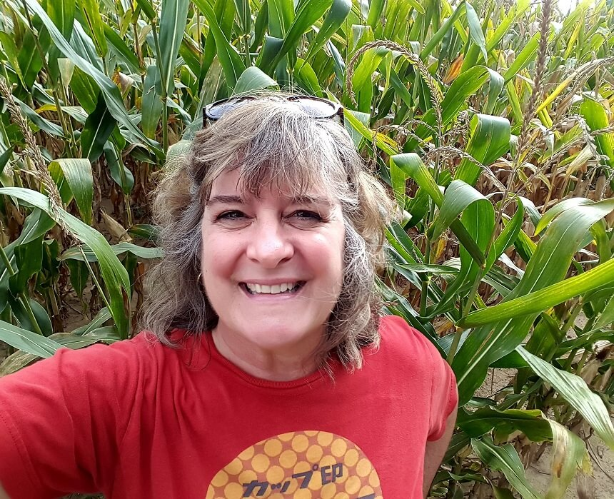 Sheila Scarborough in the corn on Hoosier Hill near Fountain City Indiana
