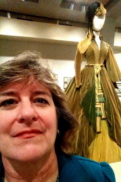Sheila Scarborough with Scarlett's famous curtains dress GWTW Ransom Center Austin