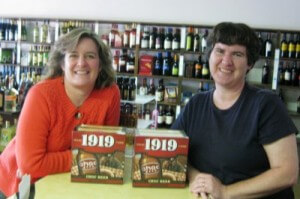 We're a little blurry but we're happy! Sheila and Becky at Allen's Retail Liquor with Choc Beer