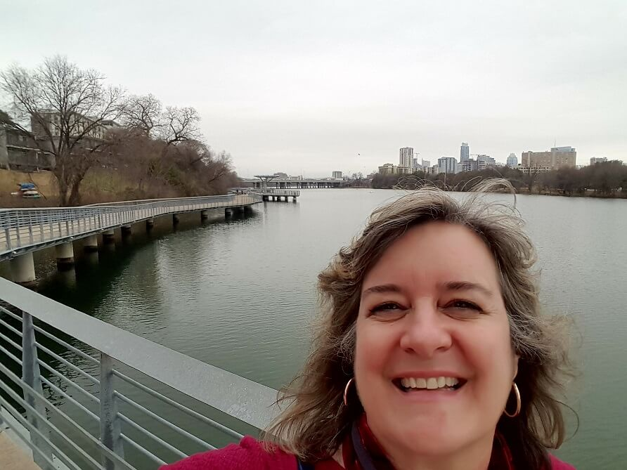 Sheila Scarborough at Lady Bird Lake Boardwalk Austin TX