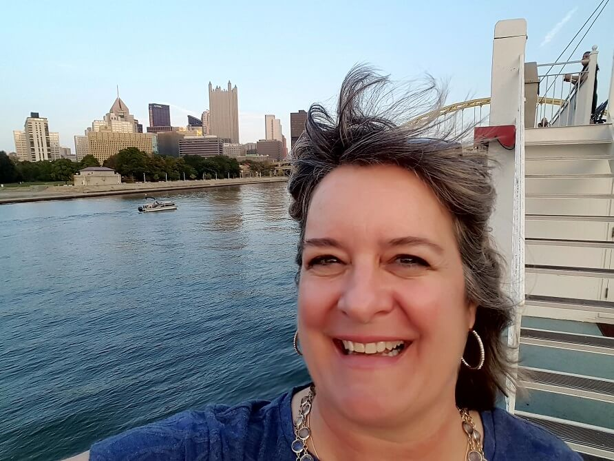 Sheila Scarborough sees Pittsburgh from the water on a Gateway Clipper cruise (photo by Sheila Scarborough)