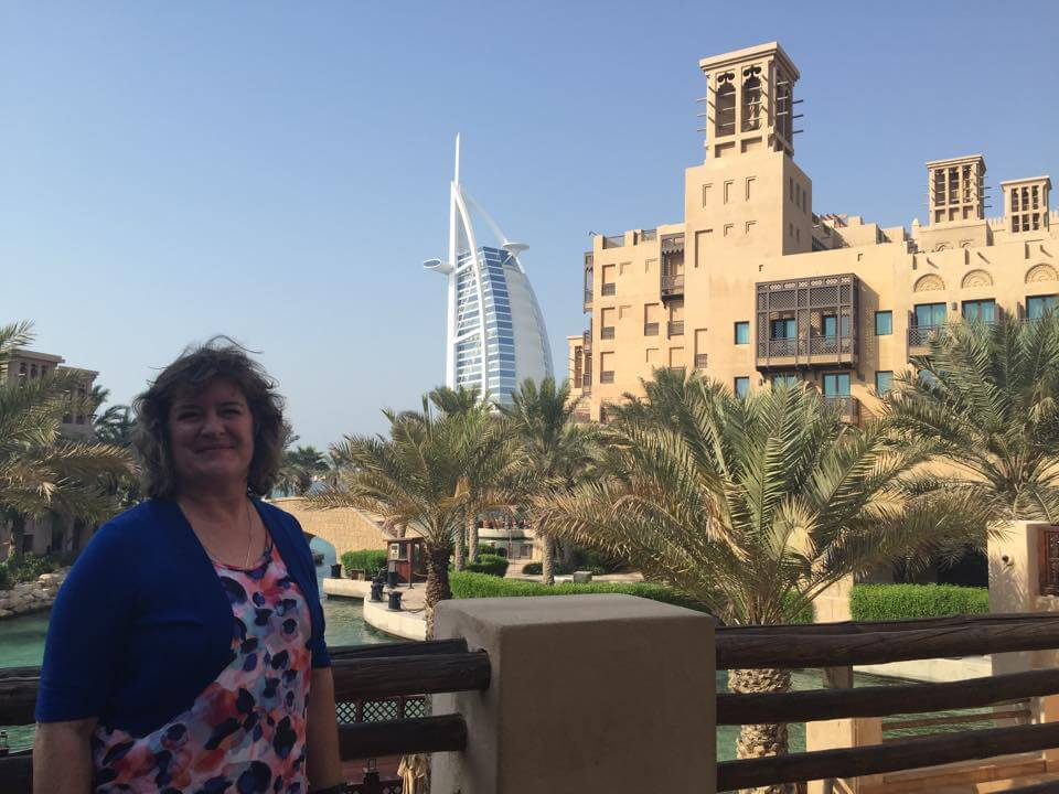The view is free - Burj Al Arab hotel seen from a prime spot in Souk Madinat Jumeirah, Dubai (photo by Grace Gomez-Fujimaki)