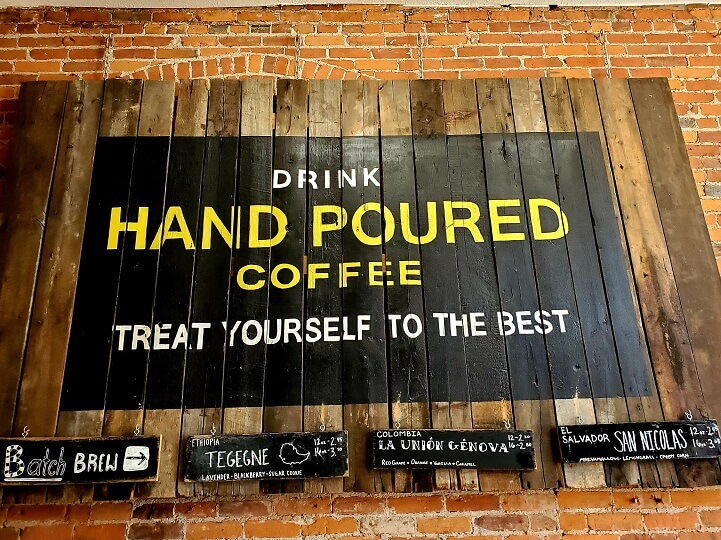 Hand-poured coffee sign at One Line Coffee in Short North on the Columbus Coffee Trail (photo by Sheila Scarborough)