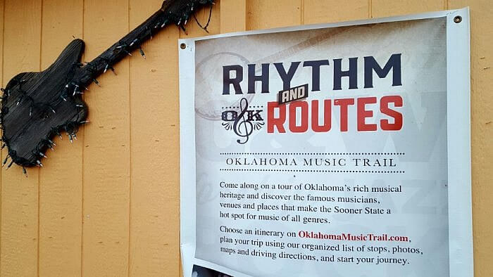 Sign in Rentiesville a blues stop for Oklahoma Tourism state Music Trail (photo by Sheila Scarborough)