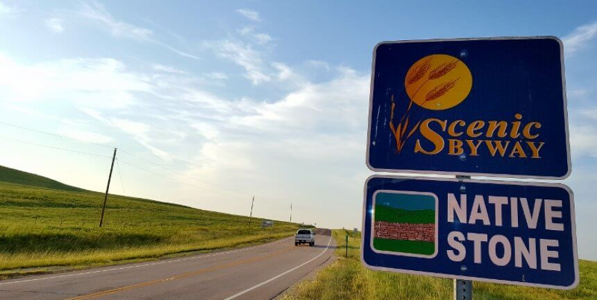 Signage for Native Stone Scenic Byway Kansas (photo by Sheila Scarborough)