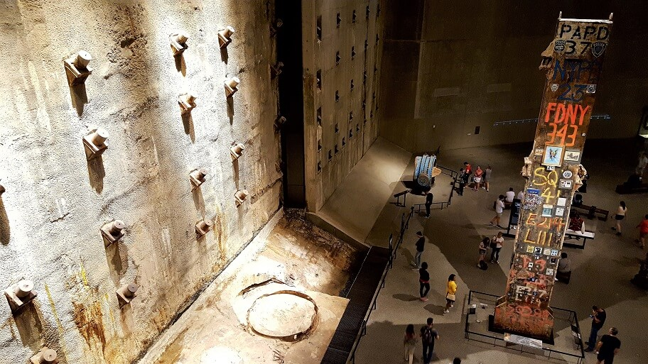 Slurry wall segment and The Last Column at 9-11 Memorial and Museum New York City (photo by Sheila Scarborough)