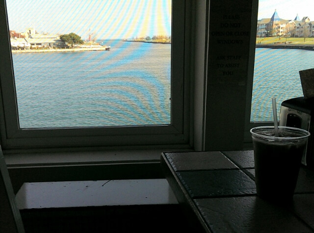 A Main Street moment - snag a back table at Harborside Common Grounds coffee shop in Kenosha WI if you want this harbor view (photo by Sheila Scarborough)